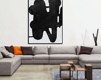 huge Large Painting on canvas, Large Canvas Art. modern wall Art, contemporary Art Abstract Painting Black and White canvas large wall Art.