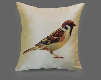 Sparrow pillow 16 x 16 cushion cover bird pillow throw pillow