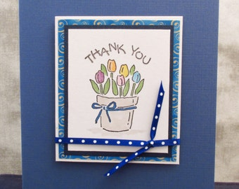 Thank You Card, Thanks So Much, appreciation card, handmade card, floral card, thinking of you, MADE TO ORDER