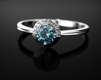 Sterling Silver Blue Topaz Engagement Ring Silver Engagement Ring Blue Gemstone Engagement Ring Gold Blue Topaz Ring December Birthstone
