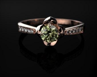 Peridot Ring Rose Gold Engagement Ring Peridot Engagement Ring Gemstone Engagement Ring Peridot Ring Peridot August Birthstone Ring