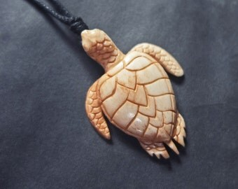 Turtle Necklace Hand Carved Turtle Pendant Necklaces Buffalo Bone Jewelry Taxidermy Carving