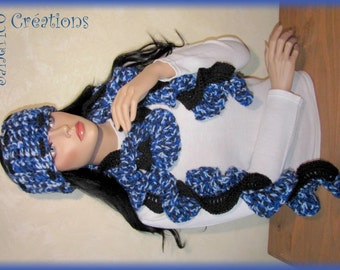 Jute and wool handmade blue and black crochet headband scarf
