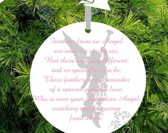 "In Memory Ornament ""Guardian Angel"" Memorial Christmas Ornament Gift of Remembrance loved one -#GA24 - lovebirdschristmas"