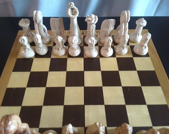 Tolkien Inspired Chess Set - Woodsy Brown & Regal White