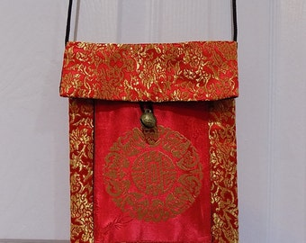 Traditional Chinese Silk Purse With Antique Bell Button