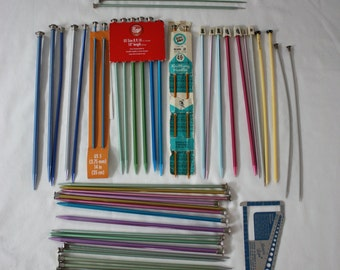 LOT of 61 Knitting Needles and 1 Marcia Lynn Needle Gauge *Ezy-Knit *Boye *Bates & More Some New, Most Used Some Vintage