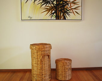 Vintage Boho Nesting Baskets Mid Century Bamboo Basket Set of 2 Made in Mexico