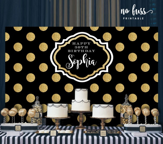 Polka Dot Black And Gold Backdrop Adults Party Banner