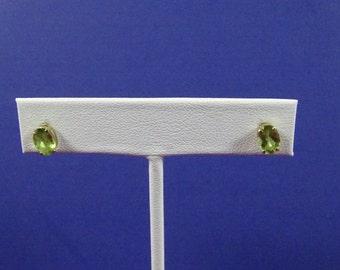 Estate 14k Gold and Peridot Stud Earrings (pierced)