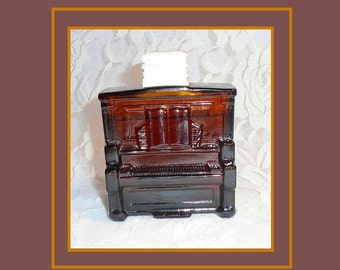 AVON Piano Decanter, FULL DECANTER, Tai Winds After Shave, Vintage 1972 Avon Decanter, Root Beer Brown Glass, Upright Piano, Pianist Gift.