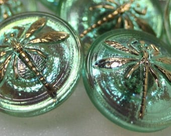 Czech Glass Dragonfly Button, Small, 18mm