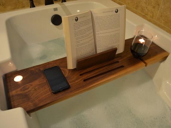 Custom Black Walnut Bathtub Caddy