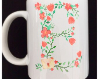 Pretty Flower Initial and Name Mug - Gorgous Red Flower and Bird Illustration