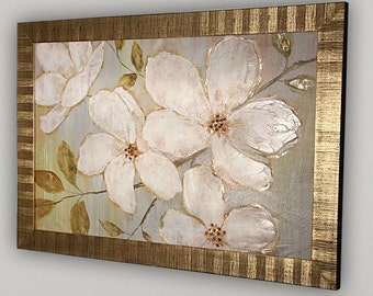 White Blossoms- by Nan F Framed Painting Print