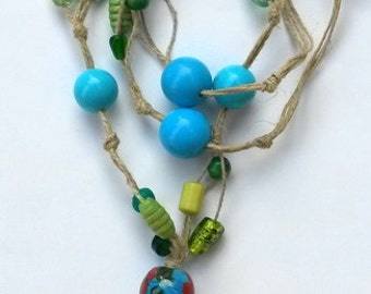 Ceramic, beaded necklace, glassy beads, natural, eco friendly necklace, handmade jewelry
