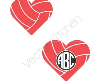 Heart Shaped Volleyball Ball Monogram Frame, and Non Frame Cutting Template SVG EPS Silhouette DIY Commercial Vector Instant Download Love