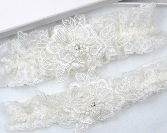 Ivory Lace Wedding Garter Set, Bridal Garter, Toss Garter, Wedding Garter, Floral Garter, Ivory Garter, Garter Set,  Rustic Garter, Garter