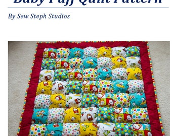 "Create your own Puff Quilt the easy way!  Tutorial/Pattern for a  ~38"" X 38"" Puff Quilt aka Biscuit Quilt"