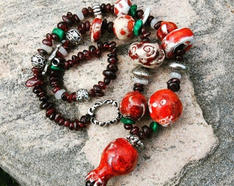 Garnet Bead Necklace * Garnet Necklace * Boho Necklace * Bohemian Necklace * Boho Chic * Red Necklace * Ceramic Necklace * Ceramic Beads