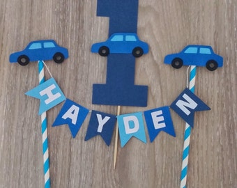 Blue Car Cake Topper Set, Baby Shower Cake Bunting, Car birthday, Personalised Cake Bunting, Cake topper, cake decoration, First Birthday