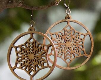 Wood WOODEARZ snowflake earrings