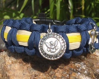 Military U.S. Navy Paracord Bracelet, U.S. Navy vintage emblem silver plated charm, also an antique silver anchor charm