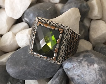 925 Sterling Silver ring, Ottoman jewelry, jewelry, Green Peridot ring, olivine ring, Men's Ring,