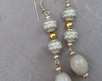 Beige and Gold Dangle Earrings