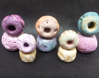 Clay Beads, Handmade Clay Beads. Handcrafted Clay Beads, Colorful Clay Beads, Colorful Handmade Clay Beads
