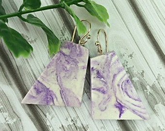 Marble earrings, Purple earrings, Geometric earrings, Purple marble earrings, Clay earrings, Sterling silver, Air dry clay not polymer clay