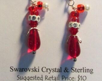 Santa Clause Earrings - Swaroski,Sterling & Glass Small