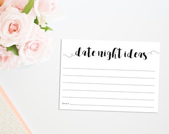 Printable Date Night Cards, Printable Bridal Shower Game, Date Night Ideas Cards, Date Night Cards, Bridal Shower Games