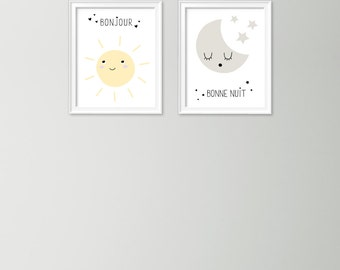 Bonjour and bonne nuit print set - Nursery prints - Babys room decor - Sun and moon print - Gender neutral prints - Printable baby gift