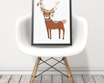 Woodland deer print - Nursery woodland animals - Tribal deer kids wall decor - Gender neutral nursery wall art - Whimsical bohemian art