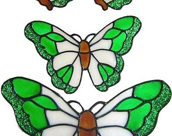 Set of 4 Hand Painted Stained Glass Effect Butterfly Window Clings (Ref 424)