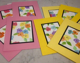 Unique Hand Crafted Watercolor Painted  Pancie Notecards