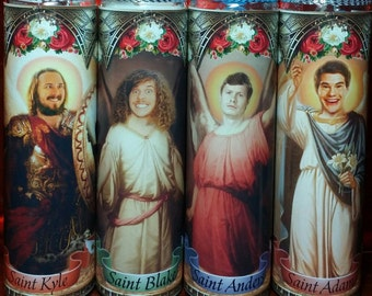 Set of 4  Workaholics Candles  - Adam, Anders, Kyle and Blake -  Celebrity Saint Prayer Candle