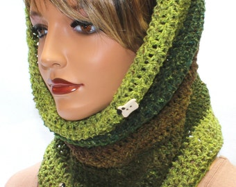 Hooded Cowl, Crochet Cowl, Hooded Scarf, Chunky Cowl, Neck Warmer, Circle Scarf, Neck Cozy, Hygge, Festival Hood, Coachella, READY TO SHIP