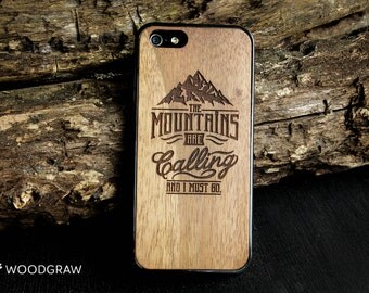 The Mountains Are Calling iphone case 6 7 wooden 5 men gift for him, groomsmen gift, husband gift, men gift