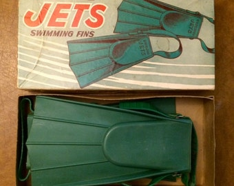 Vintage Superior Jets Swimming Fins in Original Box by Superior Fabricators, Chicago, IL