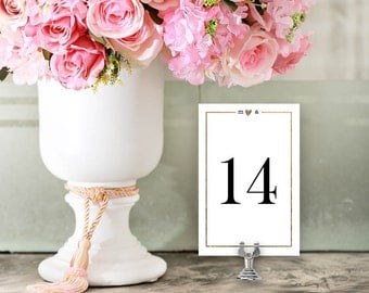 Wedding Table Numbers, Printable Table Numbers Template | Wedding Reception | Gold Borders | No. EDN 5048