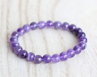 AMETHYST BRACELET. Anxiety Relief. Meditation bracelet. Psychic Attack. Third Eye Bracelet. Calming Bracelet. Dark Purple Quartz Bracelet.