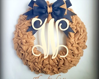 Halloween Wreath-Monogram Door Wreath-Personalized Halloween Wreath-Burlap Wreaths-Boo Wreath-Fall Wreath-All year Wreath-Rustic Fall Wreath