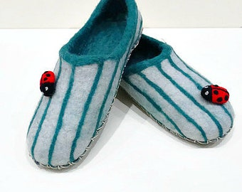 Wool Slippers Felt Slippers Women Slippers Striped Slippers Green Slippers Winter Slippers House Slippers Woolen Slippers Felted Ladybug
