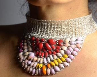 Statement Silver wire woven choker-Rare Silver wire crocheted choker-Unique colorful necklace