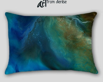 Blue & brown Lumbar pillow, Teal turquoise cobalt, Home decor Master Bedroom, Abstract art Pillow cover case throw, Toss Accent Sofa Cushion