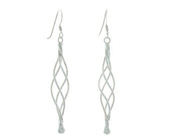 Sterling Silver Trance Earrings, Silver Swirl Earrings, Sterling Spiral Earrings