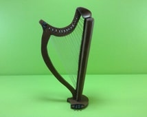 Realistic miniatures, musical instrument: harp, dollhouse furniture - diorama.