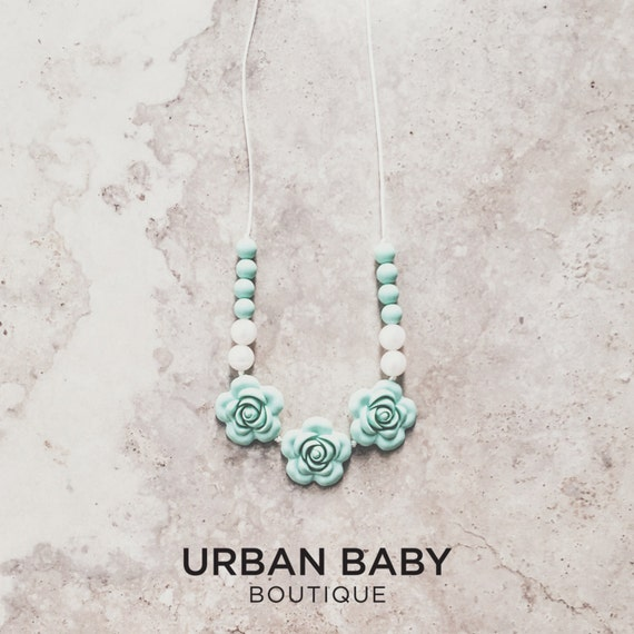 Amelia Mint Rose Silicone Teething Necklace - Mint and Pearl, Rose Necklaces, Chewable Necklaces, Teether, Chew Beads, BPA Free Jewellery